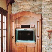Entertainment Center, built-in: stained maple with antiqued effect, (columns sli