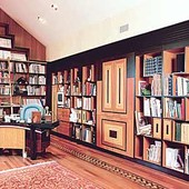 Bookcases with Bar, built-in: natural mahogany and Nigerian satinwood, black lac