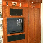 Entertainment Center, built-in: stained cherry and ropey cherry.