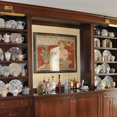 China Cabinet, built-in: marble, stained cherry.