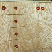 Detail:  Japanese tamo veneer with amber drawer pulls.