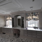 "Dressing Room, built-in: lacquer with antiqued ""strike in"" effect."