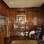 "Paneled Room, built-in: stained cherry, console: ""antiqued"" gold leaf effect."