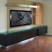 Entertainment Center, built-in: glass, lacquer with stainless steel accents, nat