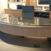 Executive Desk, freestanding: granite, natural birdseye maple.