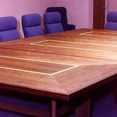Conference Tables, free standing: natural walnut, maple and French walnut.