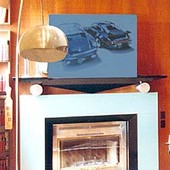 Fireplace Surround with Panelling, built-in: automotive lacquer w/ stainless ste