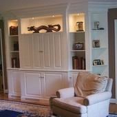 Entertainment Center, built-in: lacquered finish.