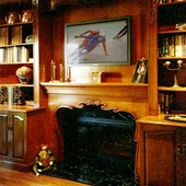 Fireplace Surround with Bookcases, built-in: maple with antique finish and Art N