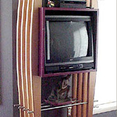 TV Cabinet, freestanding: stainless steel, natural maple and hand rubbed, satin