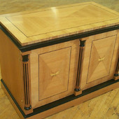 Stereo Cabinet: One of a pair, ebonized and natural quarter slice Cherry,  high