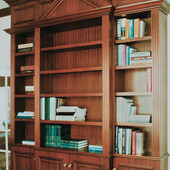 Bookcase:  Stained ribbon striped mahogany.