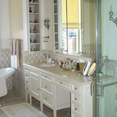Vanity, built-in: travertine marble, lacquer finish.