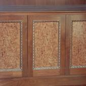 Walnut frame with sliver leafed effect accent moldings and natural olive ash bur