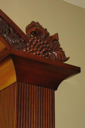 Detail of carved wood bar - Sherman and Gosweiler