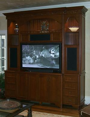 Custom entertainment center by Sherman and Gosweiler