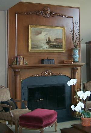 Carved fireplace and mantle - Sherman and Gosweiler